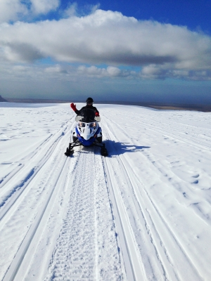 Snowmobiling on Mýrdalsjökull glacier, Iceland
