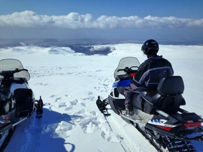 Katla, Snowmobiling on Mýrdalsjökull glacier, Iceland