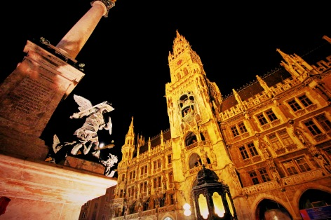 Marienplatz at night, Munich, Germany