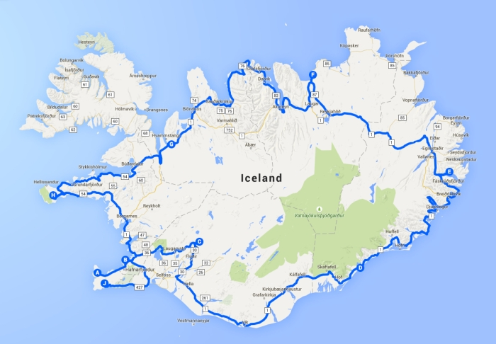 Iceland Roadtrip Map