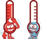 Hot and cold cartoon thermometers